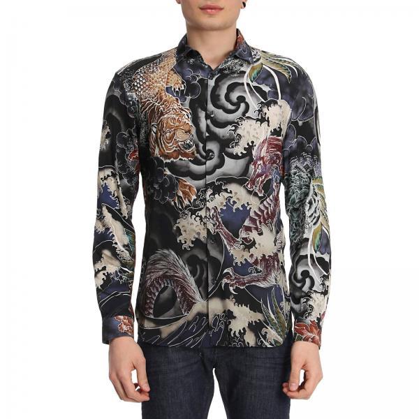 designer fashion a677d b5d6e Camicia in viscosa con fantasia dragone