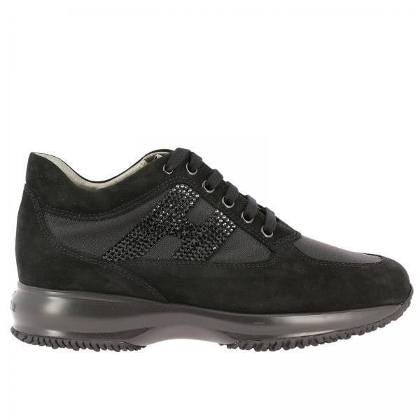 Sneakers Donna Hogan | Sneakers Interactive In Pelle Scamosciata E Tela Con  H Di Strass | Sneakers Hogan Hxw00n02011 Fi7 - Giglio IT
