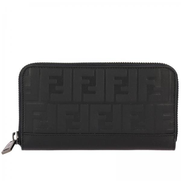 Portafoglio Continental zip around in vera pelle con maxi logo FF embossed