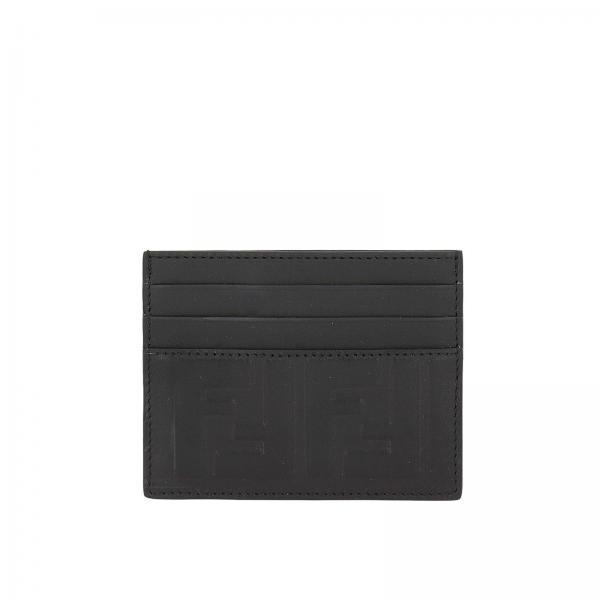 Porta Carte di credito in vera pelle liscia con logo FF embossed