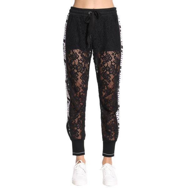 buy popular 6f16a 52e20 Pantalone guazzare da jogging in pizzo con bande laterali pinko