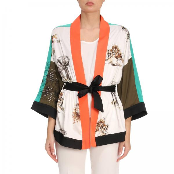 Becha Pinko Blazer Di Stampa Bianco Donna Animali Kimono Con BCwIOq