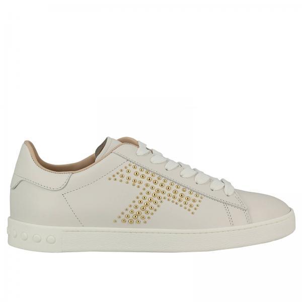 Sneakers stringata in pelle con suola in gomma e logo tod's di borchie. €  370,00. Sneakers Donna Tod's