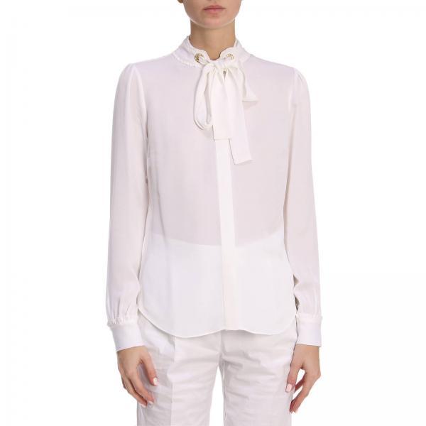 buy online 16fc9 e6b65 Camicia a maniche lunghe con collo alto e coulisse in seta