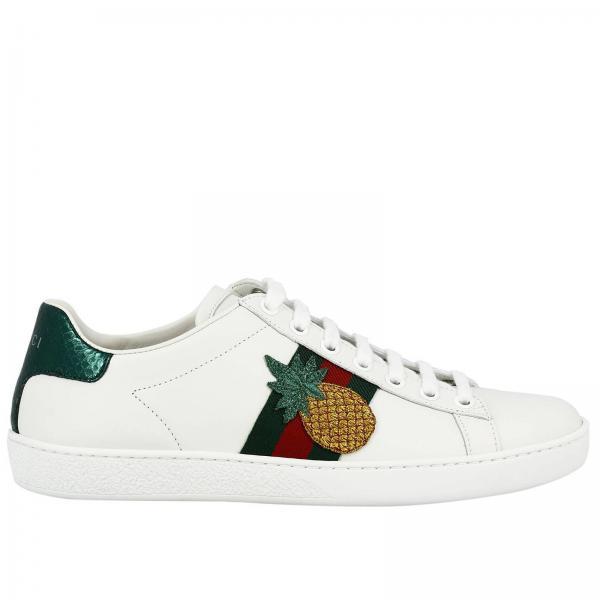 new products 8d6c1 5cc70 Sneakers new ace stringata in vera pelle soft con fasce web e ricamo ananas  e coccinella