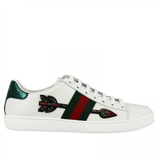 scarpe donna gucci bianco sneakers new ace stringata in vera pelle soft con fasce web e ricamo. Black Bedroom Furniture Sets. Home Design Ideas