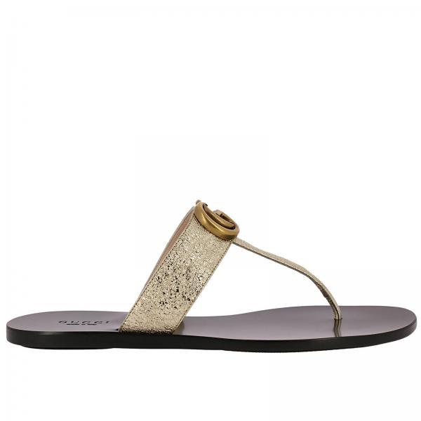 Gucci Women S Gold Flat Sandals Shoes Women Gucci Gucci Flat