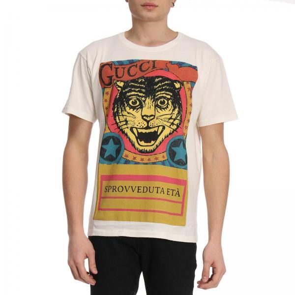 gucci uomo abbigliamento maglia  T-shirt Uomo Gucci Bianco   T-shirt A Girocollo In Puro Cotone Con ...