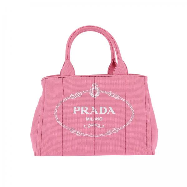 Prada Women S Pink Handbag Hemp Ping Bag With Logo And Removable Shoulder Strap 1bg439 Zki Giglio En