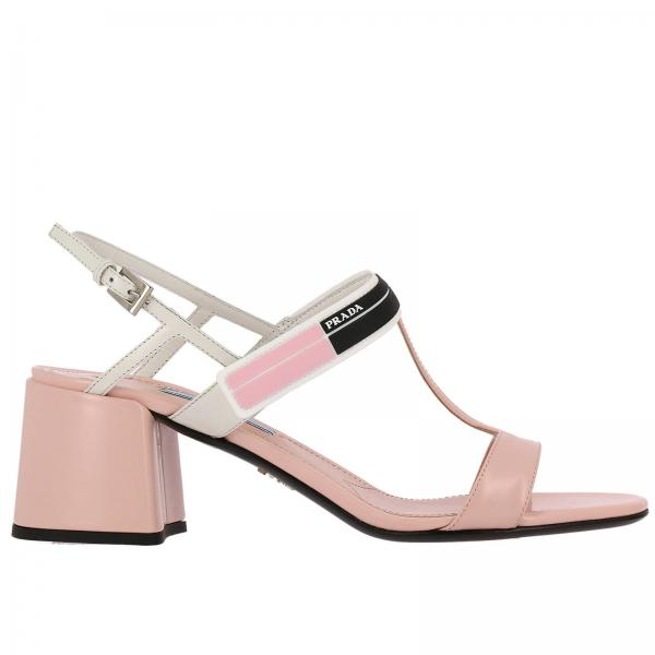 Heeled Sandals Women Prada Pink