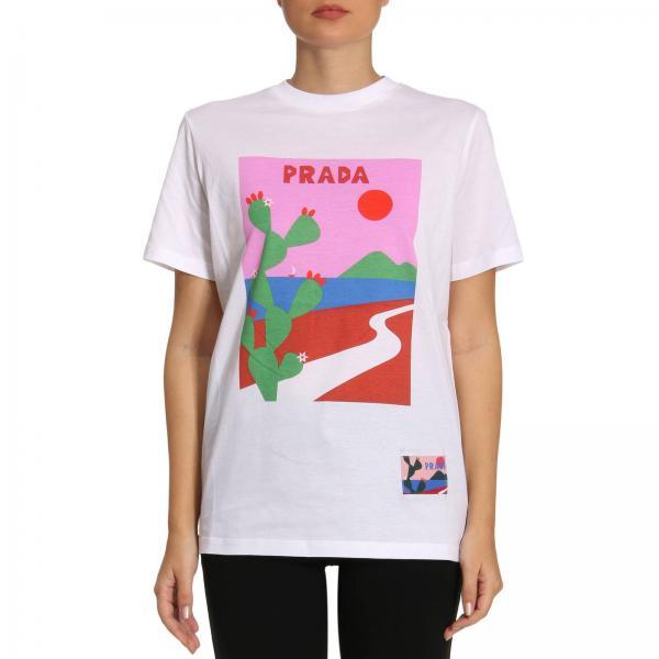 8bf802b2d9d550 Prada Women s White T-shirt   T-shirt Women Prada   Prada T-shirt ...