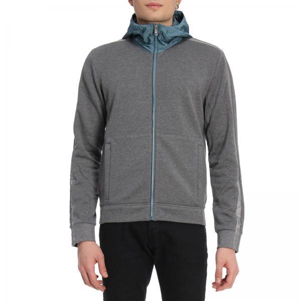 reputable site cc5a5 37644 Felpa con zip in nylon e cotone a contrasto con logo in gomma intagliata