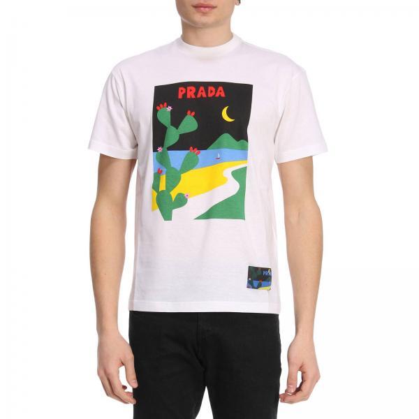 09bfb6bb6bfe58 Prada Men s White T-shirt   T-shirt Men Prada   Prada T-shirt Ujn399 1qgf -  Giglio EN