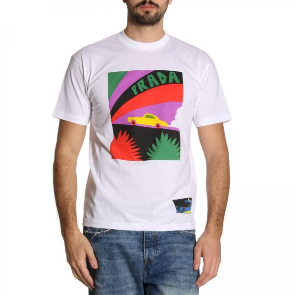 a0423dd38768b8 Prada Men s White T-shirt   T-shirt Men Prada   Prada T-shirt Ujn399 ...