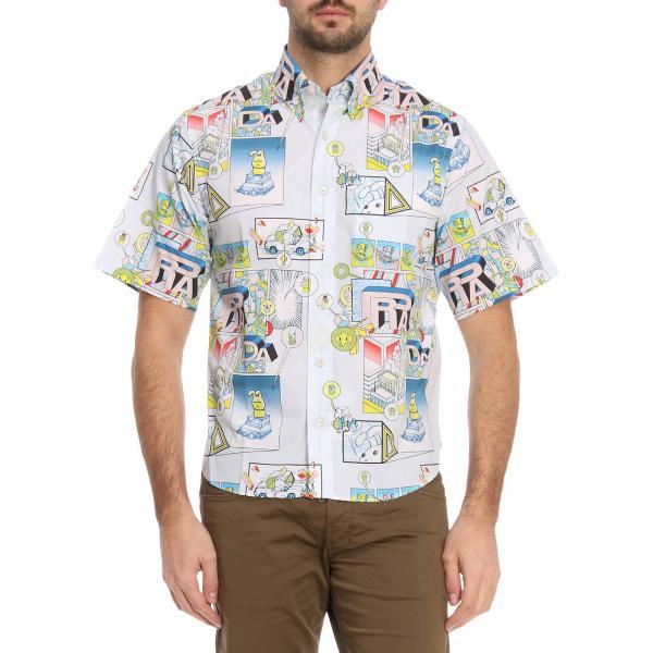 size 40 ed4ff 663ed Camicia a manica corta in puro cotone con stampa pop prada