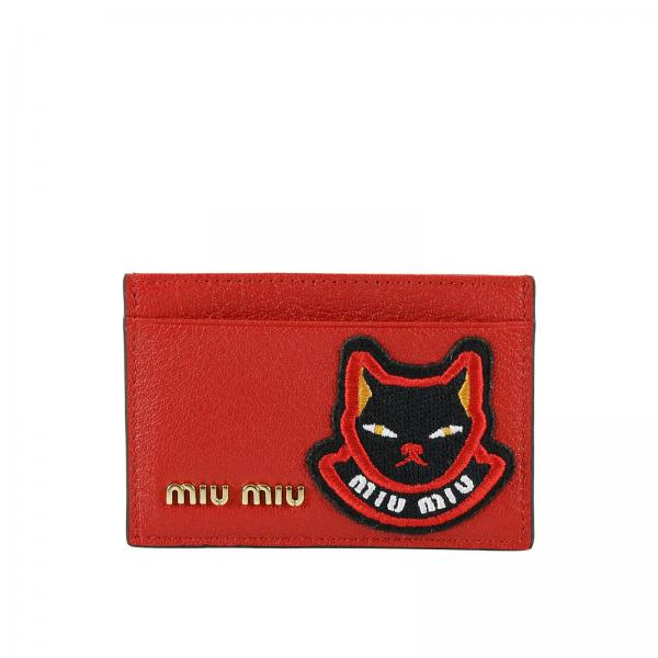 Porta carte di credito in madras con maxi patch Cat Miu Miu
