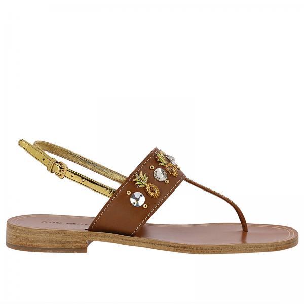 Sandalo a infradito in pelle con strass e ananas