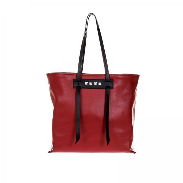 Borsa a spalla Donna Miu Miu | Borsa Shopping Large In Pelle Con Logo A Contrasto  E Doppi Manici | Borsa A Spalla Miu Miu 5bg116 2bya - Giglio IT