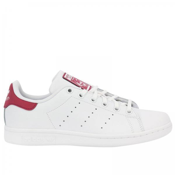 Chaussures garçon Adidas Originals Blanc   Baskets Stan Smith J Originals En Cuir Lisse Avec Semelle Ortholite Pour Enfant   Chaussures Adidas Db1201 ...