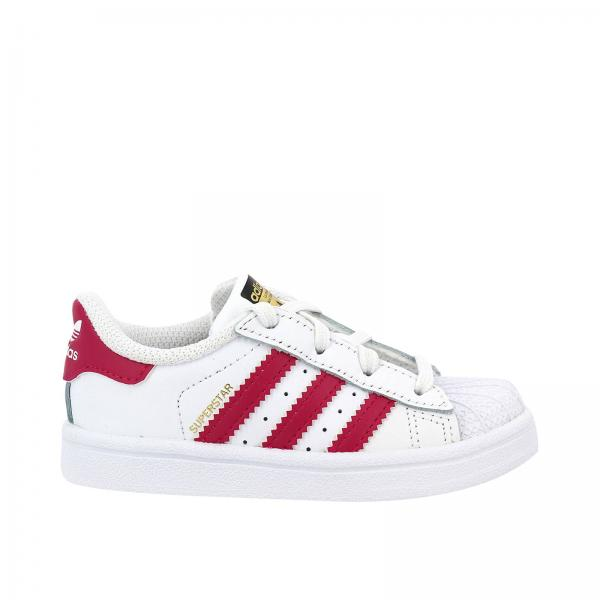 Scarpe bambino Adidas Originals Bianco | Sneakers Superstar I Originals In Pelle Liscia Con 3 Strisce In Pelle A Contrasto | Scarpe Adidas Bb9077 - Giglio ...