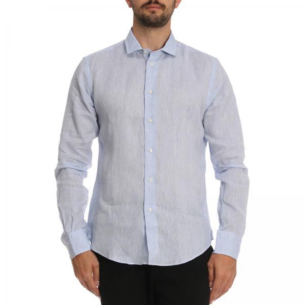 Camicia con collo italiano in lino