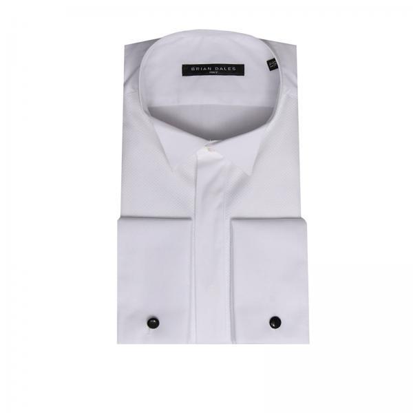 Camicia sartoriale in puro cotone con doppi polsi plastron e collo diplomatico