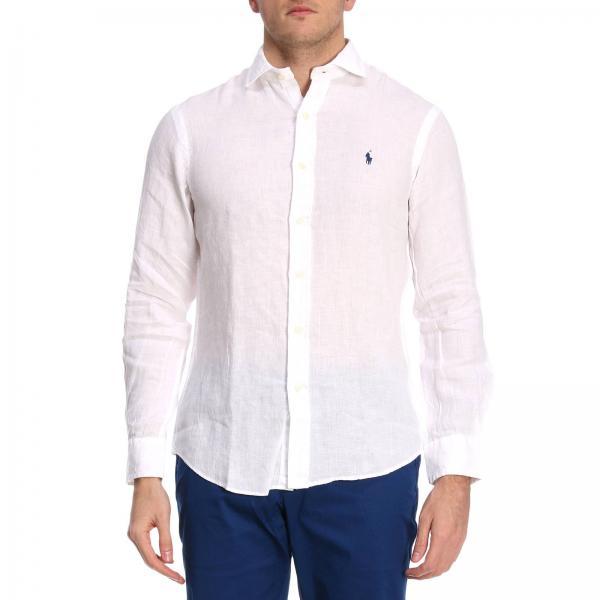 timeless design 22f3f 64878 Camicia slim fit in lino con collo francese