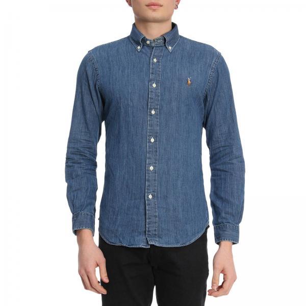 new style bb518 51799 Camicia chambray slim fit in cotone effetto denim con collo button down