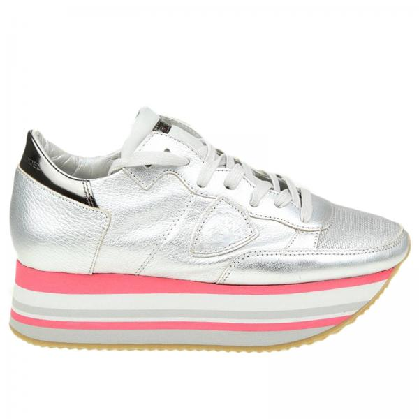 Sneakers eiffel in pelle laminata con maxi suola platform a righe. €  345,00. Sneakers Donna Philippe Model