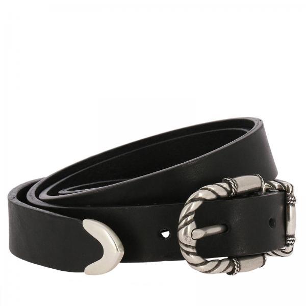 Cintura classica in pelle con fibbia metallica