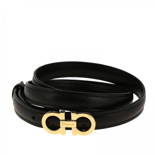 Adjustable Mini Gancini genuine fancy leather belt