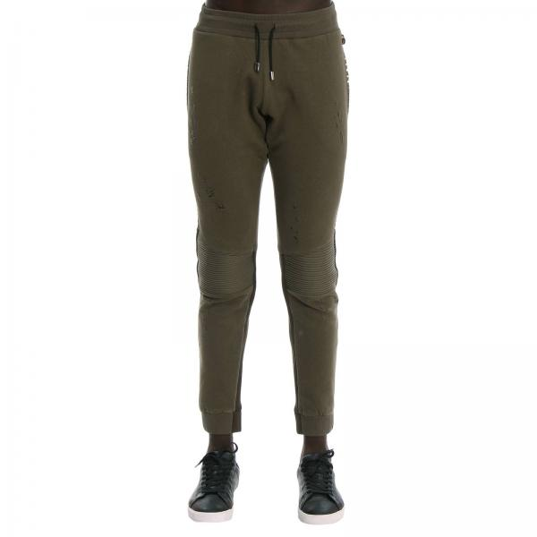 Pantalone Tonight's the night jogging in cotone con borchie metalliche sezioni stretch e micro rotture