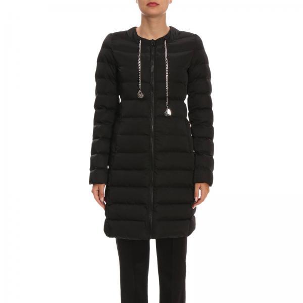 huge discount 2a8df f0dcb Piumino lungo in nylon impermeabile con girocollo gioiello