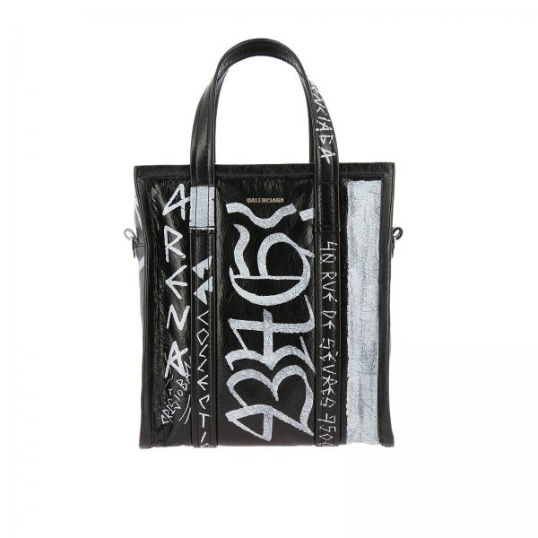 Borsa Bazar Graffiti shopping XS in vera pelle con maxi stampe all over e tracolla amovibile