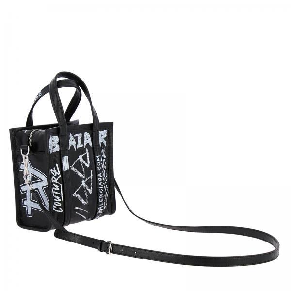 D94jg In Borsa Over Stampe 505550 Balenciaga Donna All E Con Maxi Amovibile Pelle Tracolla Vera Mini NeroBazar Graffiti dxBCreo