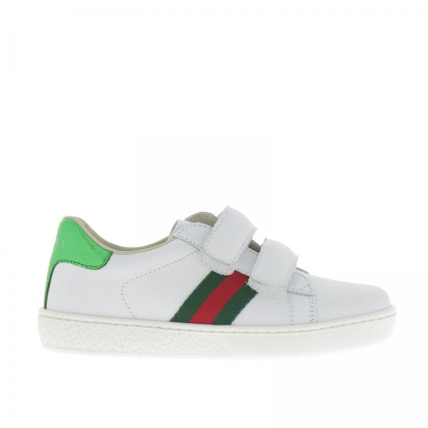 gucci little boy s white shoes new ace sneakers in leather with