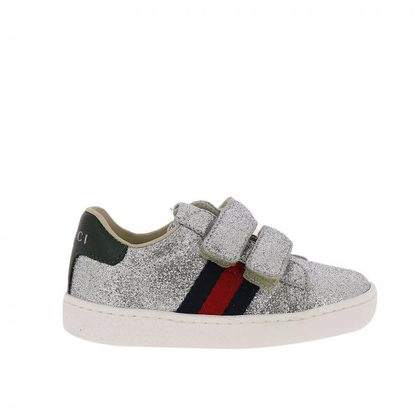 1e5566513 Gucci Little Boy's Silver Shoes | New Ace Sneakers With Velcro Straps And  Web Gucci Bands | Gucci Shoes 463088 Kusu0 - Giglio EN