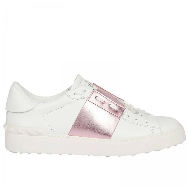 Open Metallizzata Banda Pelle Borchie Sneakers Con Liscia E In SVpqUMz