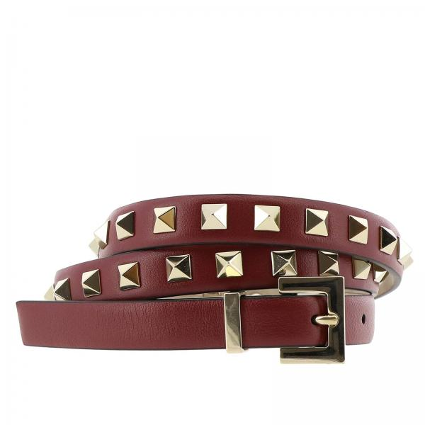 Cintura in pelle con mini borchie metalliche