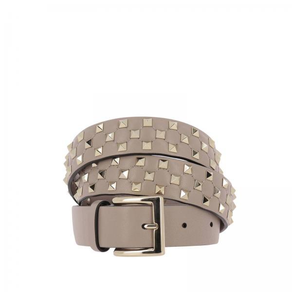 Cintura in pelle con mini borchie metalliche
