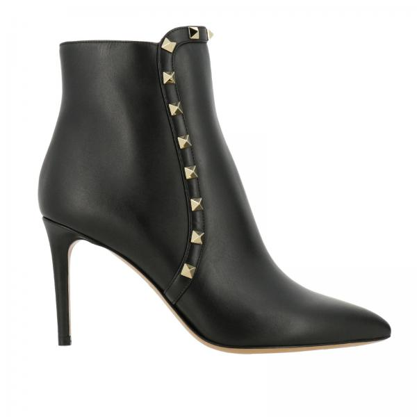Metalliche Stivaletto Pelle Con Rockstud In Mini E Zip Borchie SMpqGzUV