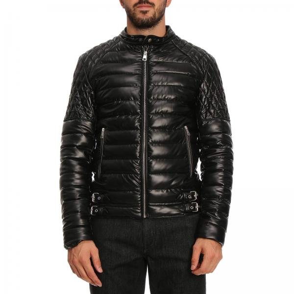 super popular 42a2e ba3e8 Piumino in stile biker full zip in pelle sintetica con effetto spalmato
