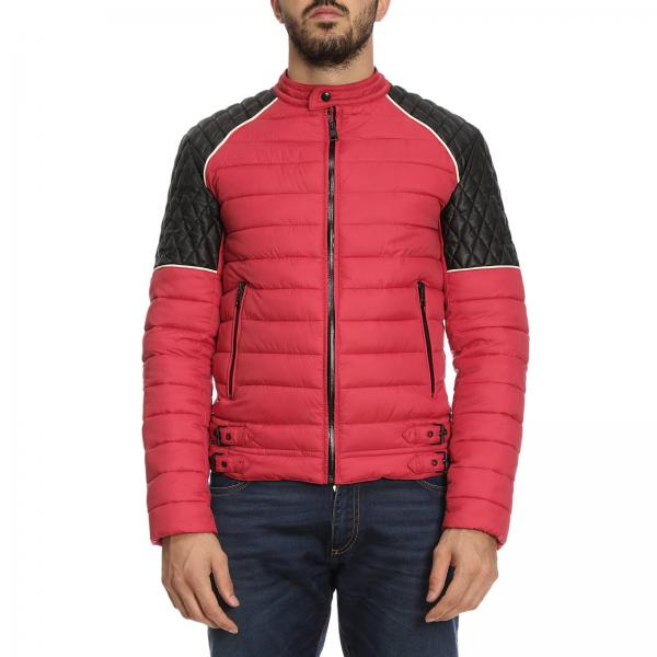 buy popular 6d609 0c488 Piumino in stile biker full zip in pelle sintetica e nylon bicolor
