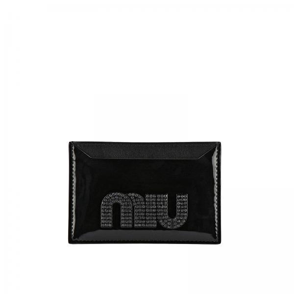 nuovo prodotto 6f291 48dce Porta carte di credito in vernice con maxi logo di strass