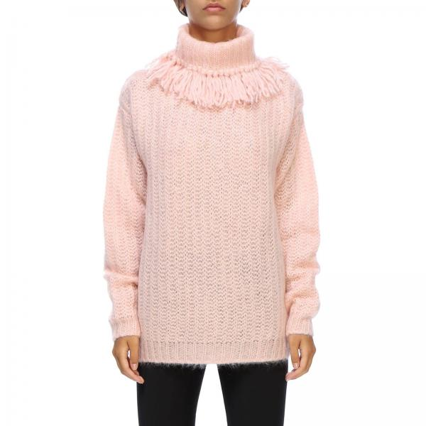 Pullover a dolcevita in mohair con frange