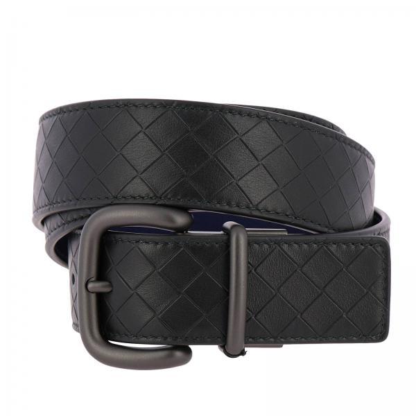 Cintura in pelle con lavorazione intrecciata e pelle liscia reversibile