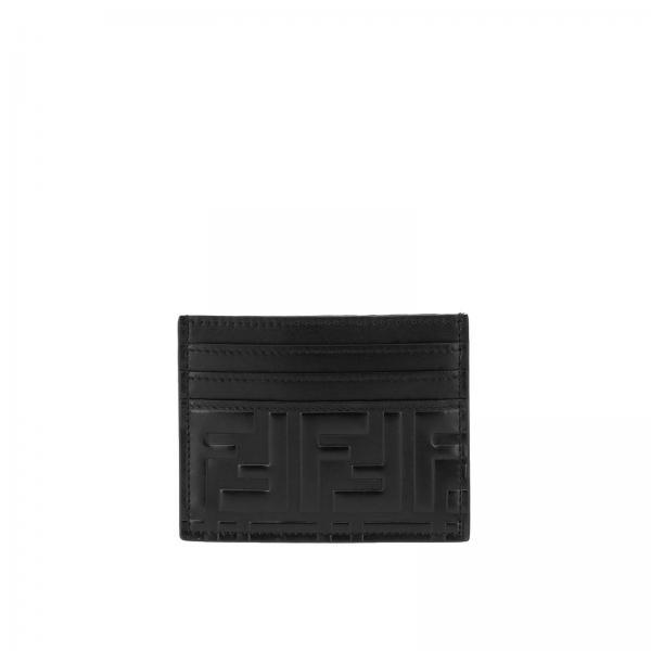 Porta carte di credito in pelle con monogramma FF Fendi embossed