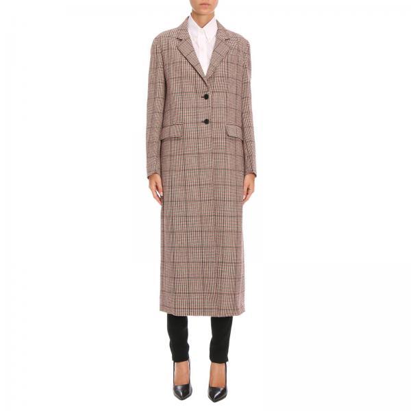 best website 787c7 3a650 Cappotto lungo in misto lana vergine con motivo check