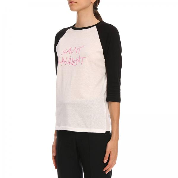Girocollo Con Cotone T Saint shirt A In Stampa Laurent Maxi PkXiZu