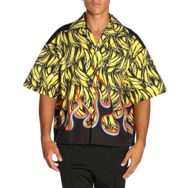 reputable site 320e0 2e56c Camicia a maniche corte in puro cotone con stampa banane prada